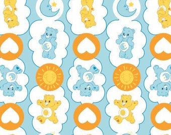 Blue Care Bears Sunshine and Bedtime Bear Cotton fabric from Camelot Fabrics 44010103-2 America Greetings fabric by yard metre quilting