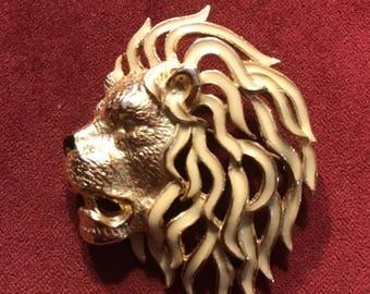 SALE Vintage Roaring Lion Pin / Brooch SPHNX Rhinestone Gold Tone