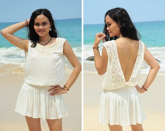 Short Dress, Mini Summer Dress, Off White Lace Dress, Resort Wear, Gift for Her