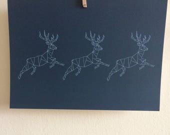Navy Festive Geometric Prancing Deer Postcard Print
