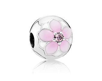 Authentic PANDORA Magnolia Bloom Clip, Pale Cerise Enamel & Pink Cubic Zirconia