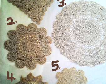 Choice of Vintage Beige Doilies and Runners