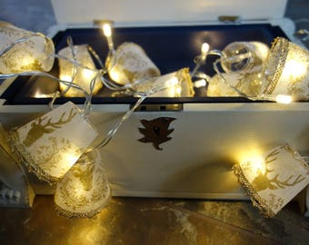 Golden stag, lampshade fairy lights