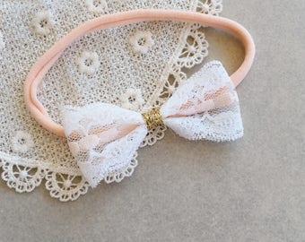 Vintage Lace Bow | Vintage Headband | Vintage Baby Bow | Nylon Headband | Baby Headband | Baby Girl