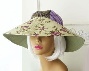 Reversible Sun hat, green and purple, vintage 60s style hat, floral, OOAK, beach hat, gardening hat, cruise hat, retro hat, Upcycled shirts