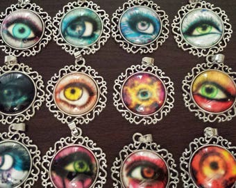 12 eye ball eyes glass cabochon pendants  destash  clearance #p23