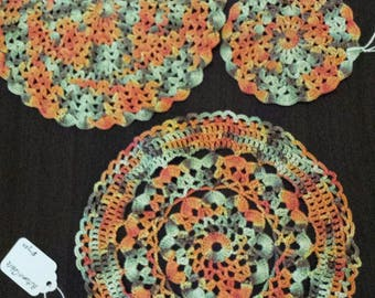 Set of 3 round doilies handpainted thread autumn clearance