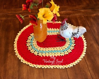 Placemat Set of 4 - Red and Yellow Doily - Crochet Table Decor - Housewarming Gift - Lace Doilies - Coffee Table Doily - Rustic Table Decor