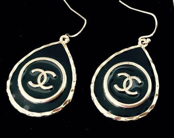 DESIGNER LOGO BUTTONS, repurposed to create new earrings, Inspired by Chanel  C816-18