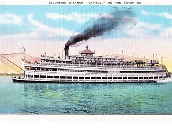 Vintage Antique Steamboat Linen Postcard Ship Capitol Excursion Steamer St. Louis MO 1930-1945 Transportation Travel Souvenir Unposted