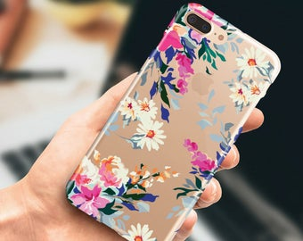 iPhone 7 clear case iPhone 7 Plus floral transparent case, iPhone 6 case, iPhone 6 plus case, iPhone 5s case, iPhone SE case.