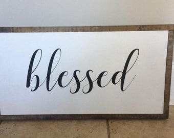 Framed wood sign/blessed/ hand painted