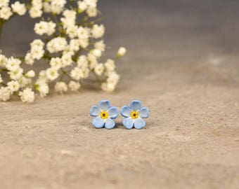 Forget me Nots Earrings, Floral Studs, Blue Earrings, Titanium Earrings, Hypoallergenic Jewelry, Wedding Earrings, Bridemades Jewelry