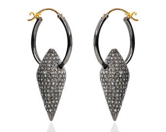 Diamond pave hoop earrings