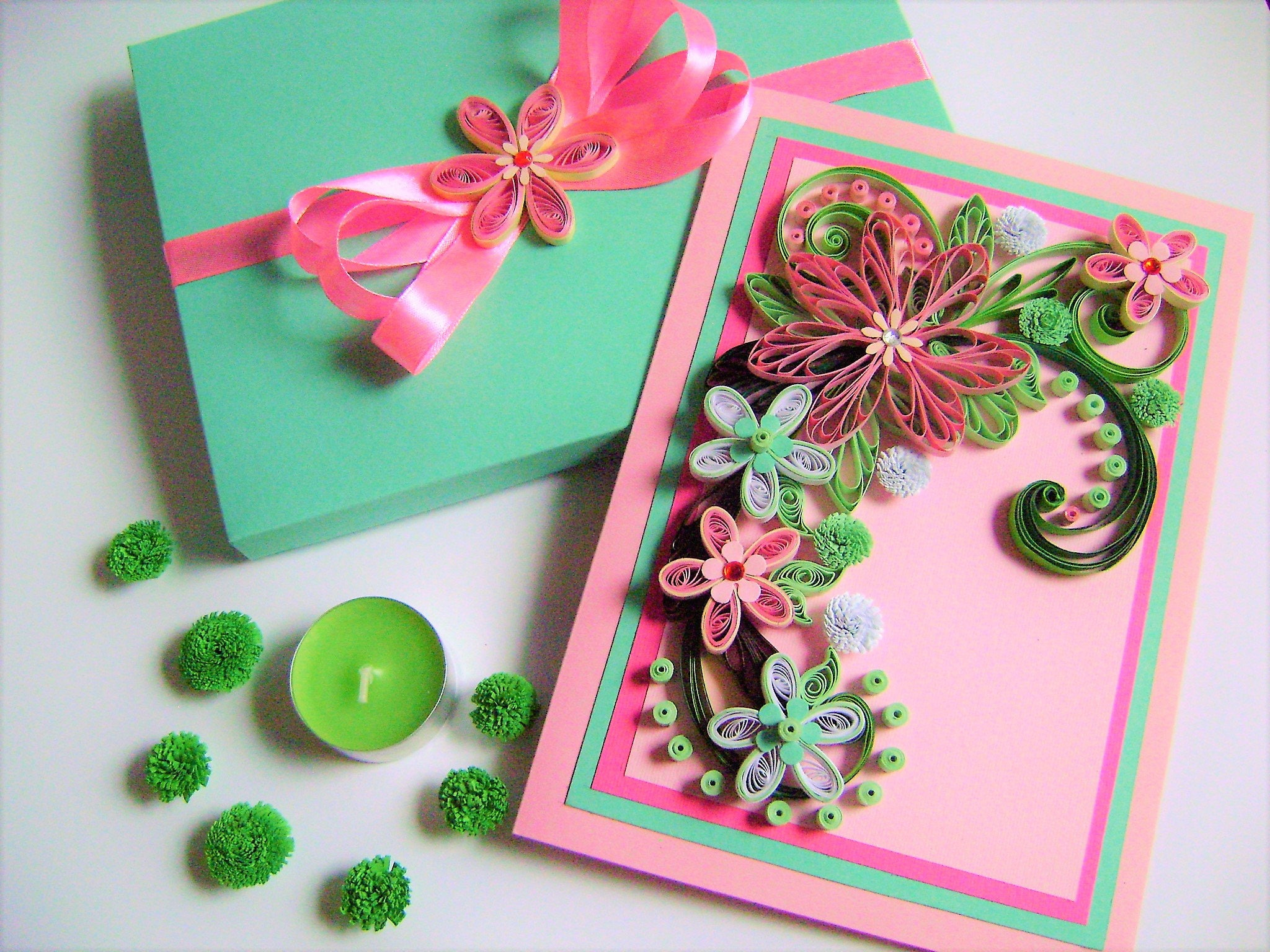 Flower Wedding CardWedding Invitation CardQuilling Greeting CardAnniversary CardQuilled