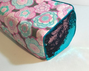 New! Cricut Maker and Cricut Explore/ Air/ Air 2/ One Custom Handmade Dust Cover Teal/Pink Flowers w/ reversible sequins