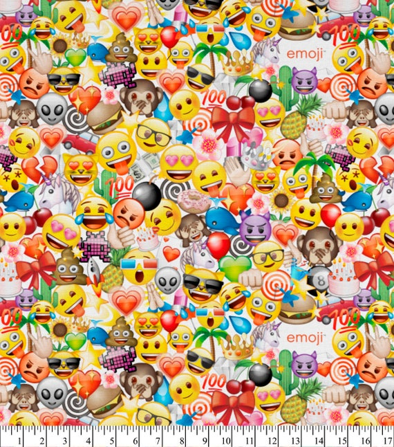 Emoji cotton fabric 44 quilting fabric party packed for Emoji fabric