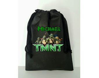 """Ninja Turtles Party, 10 Personalized Favor Bags  TMNT Themed Party, Drawstring Bags 6.5"""" x 9"""" inches"""