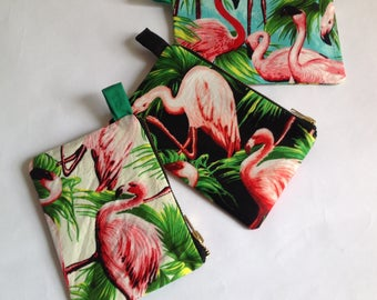 Pink flamingo change purse with retro kitch americana fabric prints in choice of three colours