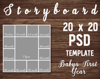Baby's First Year Photo template, PSD Template, Photo Collage, Photoshop template, Digital Collage, Storyboard, Photoshop 20x20 Collage