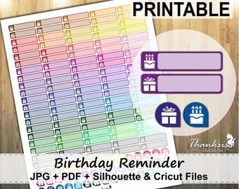 50% OFF SALE Birthday Reminder Printable Planner Stickers, Erin Condren Planner Stickers, Birthday Stickers, Birthday Planner - CUT Files