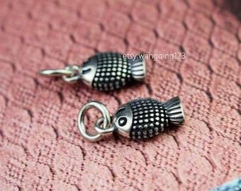 2 pcs sterling silver fish charm pendant  P1