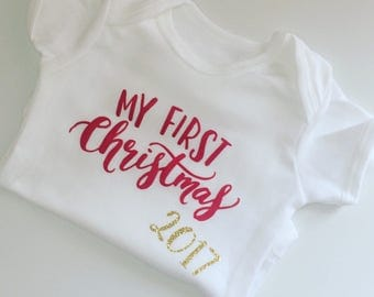 Baby's first Christmas 2017 onesie vest personalised sleepsuit