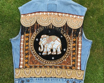 Unisex Gypsy Festival Elephant Waistcoat with Vintage Thai & Indian Embroideries