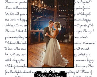 UNFRAMED Anniversary Gift First Dance Wedding Song Lyrics Personalized Wife Husband