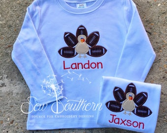 Personalized Turkey Football Applique Shirt - Thanksgiving