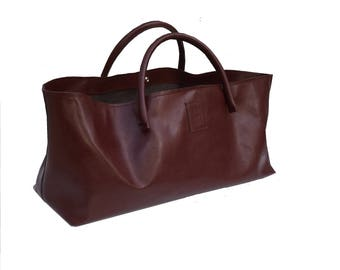 Large leather Case XXL leather shopper Einkaufsshopper shopping bag used look leather handmade