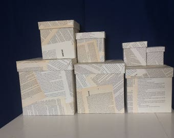 Stacking boxes, decoupaged book page boxes, storage boxes, romantic bridal shower, engagement, anniversary