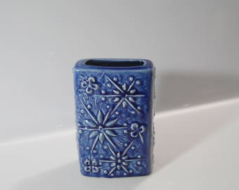 Blue coloured Cosmos or Sputnik vase by Scheurich West German Pottery, Fat Lava 263-15