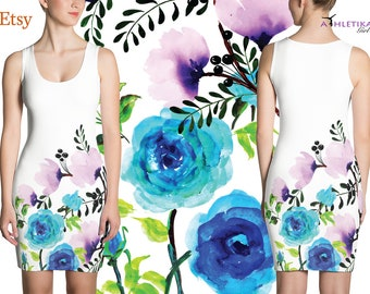 Watercolor Floral Bodycon Sping Mini Dress Summer Flowers Print Blue Pink White Romantic Pretty Girl Woman Fitted Short Sleeveless Lady Rose