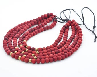 Red and gold wooden jewelry Eco jewelry Summer Necklace Art gift wooden tread Natural color Wood beads Rustic simple elegant Ecofriendly