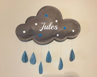 Cloud grey and blue personalized