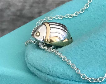Tiffany & Co Scarab Silver and 18K Gold Necklace
