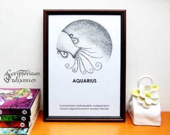 Aquarius print, Astrology download wall art, February birthday gift, male Aquarius star sign, Aquarius constellation poster, Zogiac gift