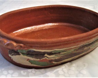 Mexican Red Ware Pottery Casserole Dish Glazed Terra Cotta Pottery Large Serving Casserole Hand Painted Splashes Of Color Fluted Handles