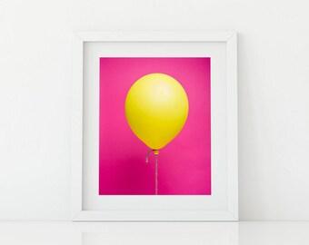 Yellow Balloon on Pink Pop Art - Bright and Fun Kids Artwork