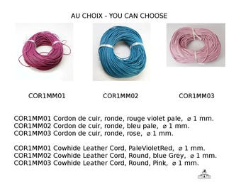 Cordon de cuir de vachette, rond, diamètre:1 mm, rouge violet pale, bleu pale, rose, noir, rouge foncé, Cowhide Leather Cord, Round, 1mm