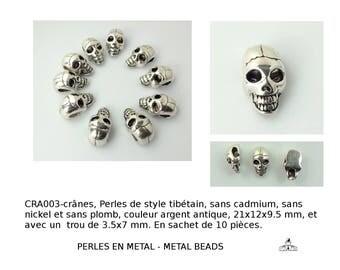 crâne, Perles de style tibétain, sans cadmium, sans nickel et sans plomb, de couleur argent antique (aps-ph-TIBEB-19063-AS-NR-crane-608)