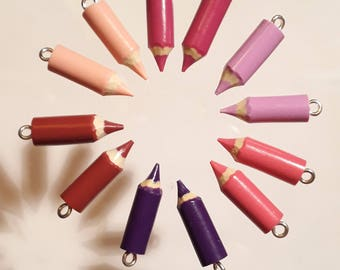 12 small pencils made in polymer clay 20 mm (6 x 2) hand - fimo - polymer clay pendant - teacher thanks - Keychain - charm Kit