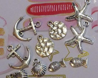 Set of 10 charms themed sea star fish shell pendant hammered silver metal anchor