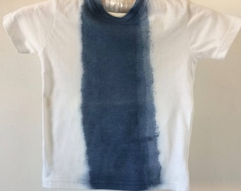 Gender Neutral Tee for kids 100% organic cotton painted with indigo