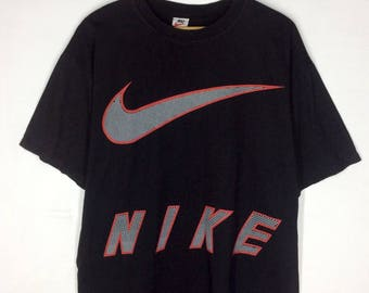 Rare Design Vintage Nike Big Logo Swoosh Spell Out T-shirt