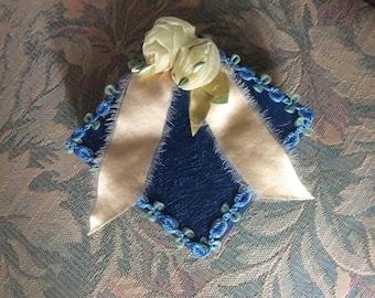 Vintage Presentation Box, Royal Blue Heavy Cardboard, Satin Lining, Adorned with Silk, Chiffon and Velvet Ribbon Work