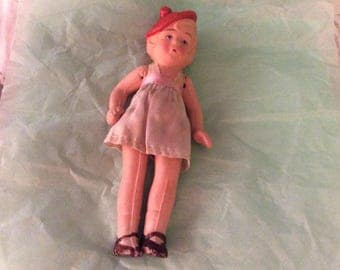 "Vintage Occupied Japan Bisque 6"" Jointed Flapper Doll  with Silk Dress and Tam Hat"