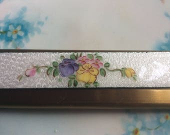Vintage Fold Out Comb Guilloche Hand Painted Pansies and gold metal, Excellent