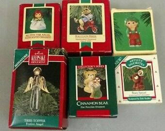 Lot of 6 Vintage Hallmark Ornaments in Original Boxes